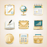 Business icons of gold Royalty Free Stock Image