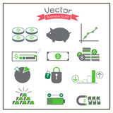 Business icons graph folder battery set check key Stock Photography