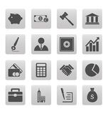 Business icons on gray squares Stock Photos