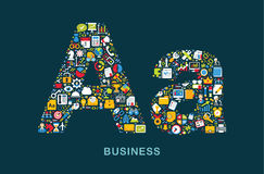 Business icons are grouped in Royalty Free Stock Photography