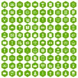 100 business icons hexagon green. 100 business icons set in green hexagon isolated vector illustration Stock Illustration