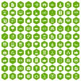 100 business icons hexagon green. 100 business icons set in green hexagon isolated vector illustration Stock Photo