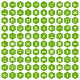 100 IT business icons hexagon green. 100 IT business icons set in green hexagon isolated vector illustration Royalty Free Stock Image