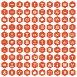 100 business icons hexagon orange. 100 business icons set in orange hexagon isolated vector illustration royalty free illustration