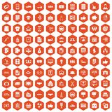 100 business icons hexagon orange. 100 business icons set in orange hexagon isolated vector illustration Royalty Free Stock Photos
