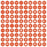 100 IT business icons hexagon orange. 100 IT business icons set in orange hexagon isolated vector illustration Vector Illustration