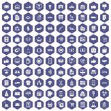 100 business icons hexagon purple. 100 business icons set in purple hexagon isolated vector illustration royalty free illustration