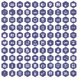 100 IT business icons hexagon purple. 100 IT business icons set in purple hexagon isolated vector illustration Royalty Free Stock Images