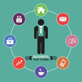 Business icons, human resource, finance Stock Photos