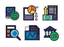 6 business icons for infographic design. vector illustration