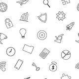Business Icons Line Seamless Pattern. Vector Illustration Business Icons Line Seamless Pattern Background Designed as Multiple Objects Involved In Work, Startup Stock Photography
