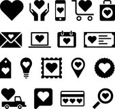Business icons with love hearts. Set of business web icons with love hearts on white background Royalty Free Stock Image
