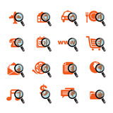 Business icons with magnify glass. Set of business icons with magnify glass Stock Images