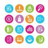 Business icons. Business management icons in colorful round buttons Stock Photography