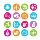 Business icons. Business management icons in colorful round buttons Royalty Free Stock Images