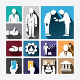 Business icons management and human resources. Flat design. Stock Images