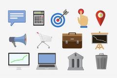 Business icons, management and human resources set. Vector flat illustration Stock Photos