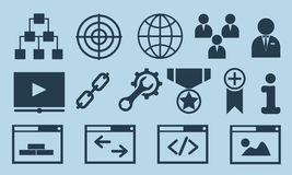 Business icons, management and human resources set. Vector flat illustration Stock Image