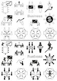 Business icons negotiating table and graph Stock Photography