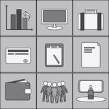 Business icons. Nine different business icons in shades of gray Stock Images