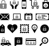 Business icons with padlocks. Set of different business web icons with padlocks, security concept on white background Stock Photos