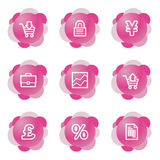 Business icons, pink series. Vector web icons, pink flower series, V2 Royalty Free Stock Images