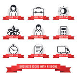 Business icons with red ribbons vector set Royalty Free Stock Image