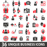 Business Icons Red. Set of 36 business icons in two colors red and dark grey Royalty Free Stock Image