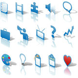 Business Icons Reflections Shadows Set 3 Royalty Free Stock Photo