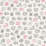 Business Icons Seamless Pattern. Can be used to illustrate management, productivity, success, financial growth Stock Photography