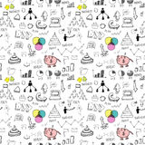 Business icons seamless pattern. Hand drawn business icons seamless pattern Royalty Free Stock Image