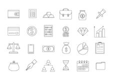 Business icons set. Set of 24 business icons Stock Photo