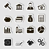 Business Icons Set as Labes Stock Image