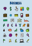 Business icons set. Big hand drawn collecton. Vector stock illustration Royalty Free Stock Photos
