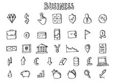 Business icons set. Big hand drawn collecton. Vector stock illustration Stock Photography