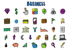 Business icons set. Big hand drawn collecton. Vector stock illustration Royalty Free Stock Image