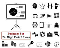 24 Business Icons. Set of 24 Business Icons in Black Color Royalty Free Stock Images