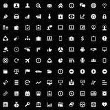 100 Business icons set. Black, isolated on white background Royalty Free Stock Photography