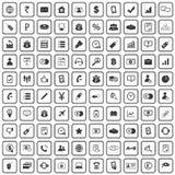 100 business icons set. Black, on white background vector illustration