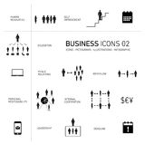 Business icons set black and white Stock Images