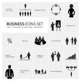 Business icons set black and white Stock Image