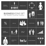 Business icons set black and white Royalty Free Stock Image