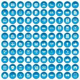 100 business icons set blue. 100 business icons set in blue circle isolated on white vector illustration Stock Photo