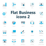 Business icons. Set of blue and grey flat business icons isolated on light background Stock Photo