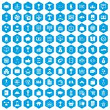 100 business icons set blue. 100 business icons set in blue hexagon isolated vector illustration Royalty Free Illustration
