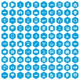 100 business icons set blue. 100 business icons set in blue hexagon isolated vector illustration Vector Illustration