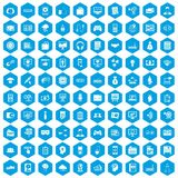 100 IT business icons set blue. 100 IT business icons set in blue hexagon isolated vector illustration Royalty Free Stock Image