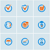 Business Icons Set. Blue-Orange vector set of financial business web icons Royalty Free Stock Image