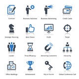 Business Icons Set 2 - Blue Series. This set contains 16 business icons that can be used for designing and developing websites, as well as printed materials and Royalty Free Stock Photography
