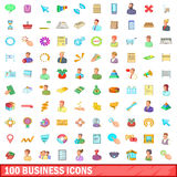 100 business icons set, cartoon style. 100 business icons set in cartoon style for any design vector illustration Royalty Free Stock Photos